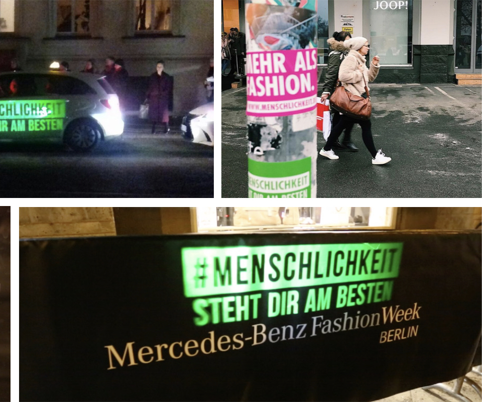 "Advertisement ""#Menschlichkeit steht dir am besten"" (Humanity suits you best) spread in the city"