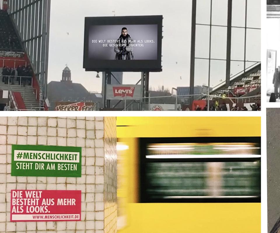 Fotocollage von #Menschlichkeits Slogan in Stadt verteilt