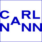 Blue CarlNann Logo on white background with blue frame