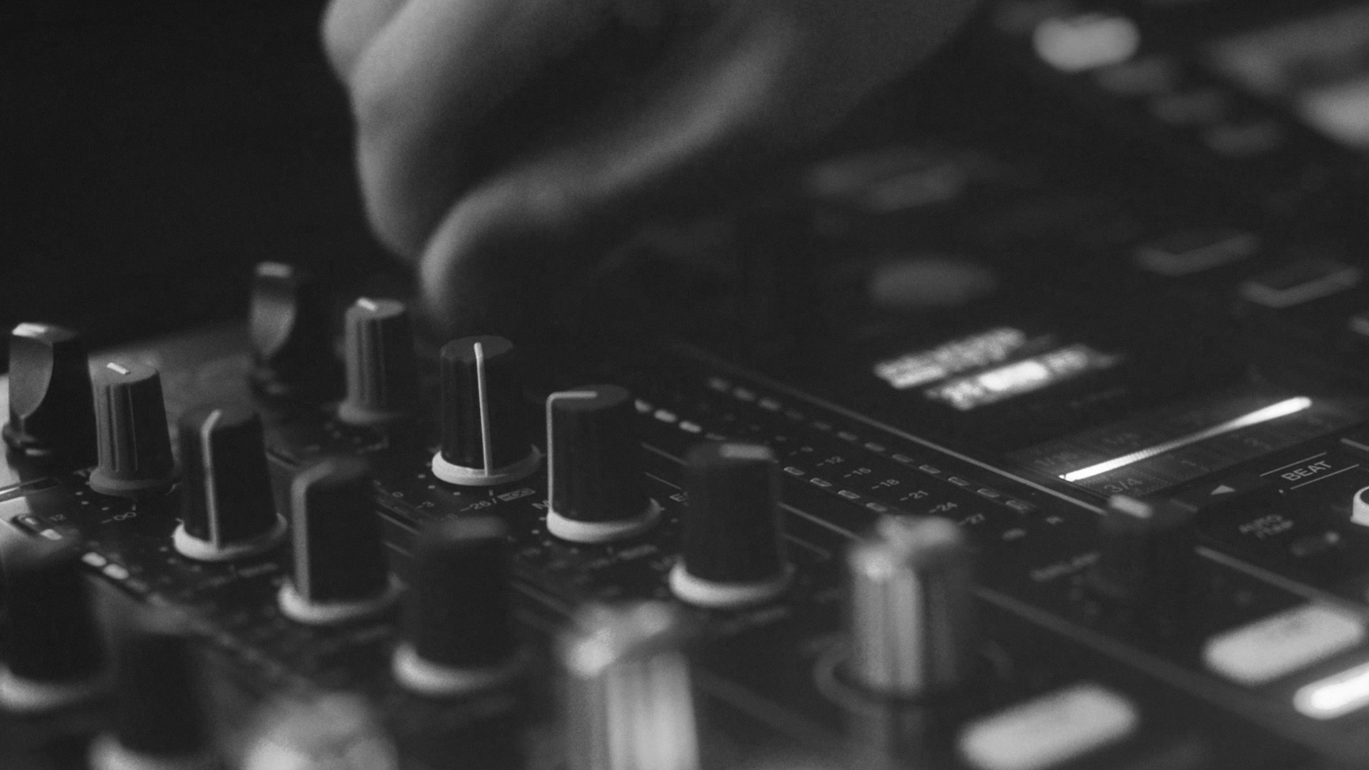 DJ sound mixer in black and white