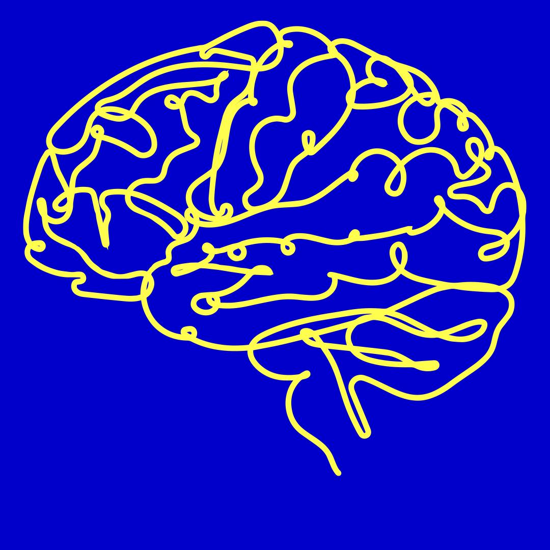 Gelbes Gehirn auf blauem Hintergrund