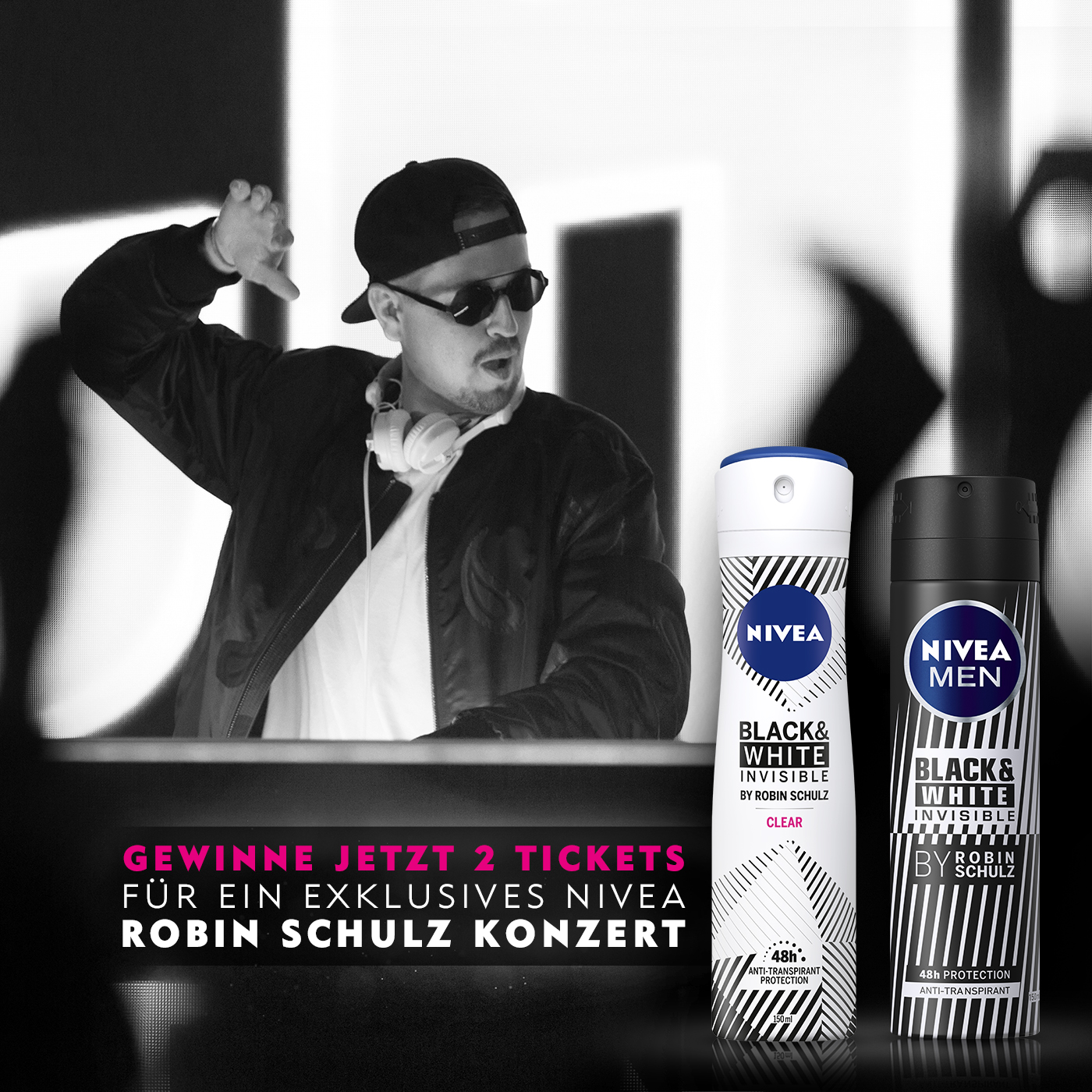 Two NIVEA black and white deodorant cans in the background Robin Schulz playing music