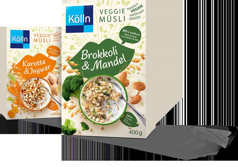 "Kölln Veggie muesli boxes ""carrot&ginger"", ""broccoli&almond"""