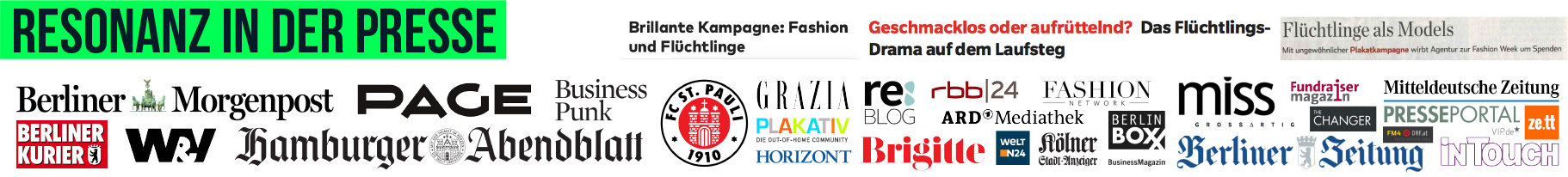 Logos of different newspaper and magazines