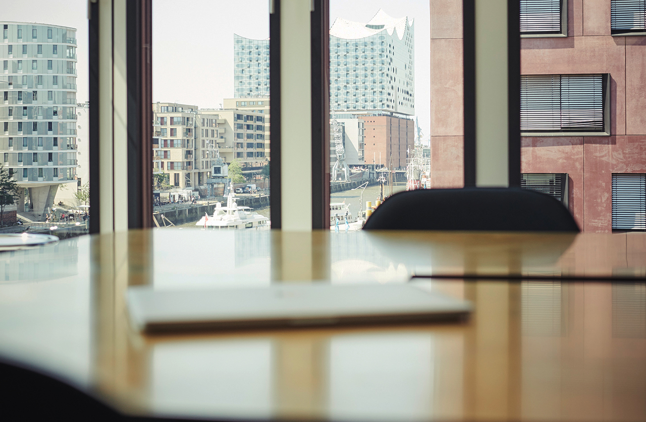 Office with Elbphilharmonie in the background