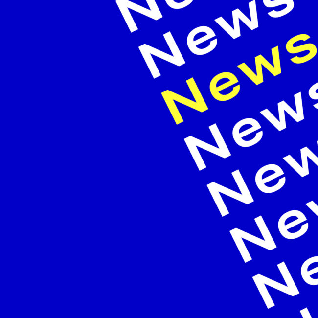 "Word ""News"" in white and yellow font on blue background"