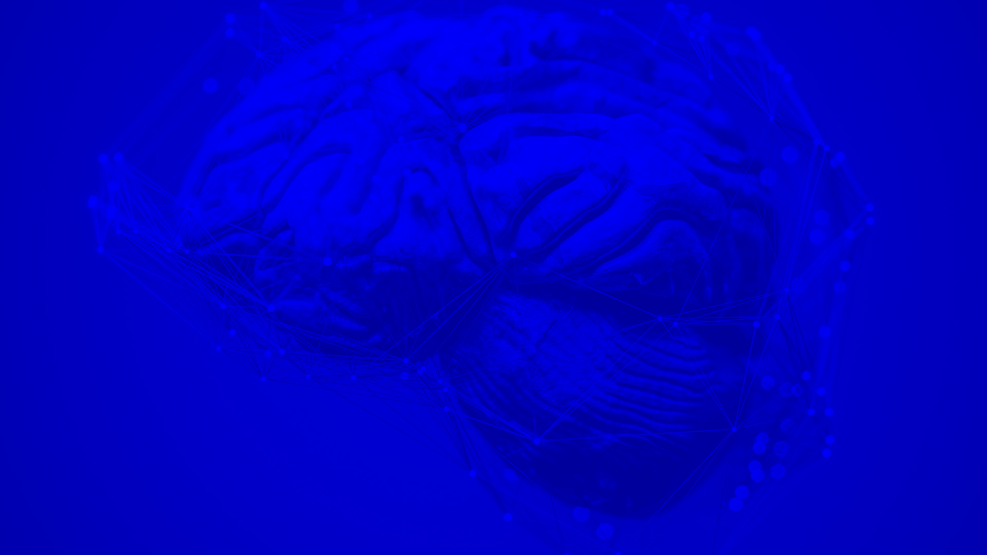 Brain surrounded by lines and points with blue filter