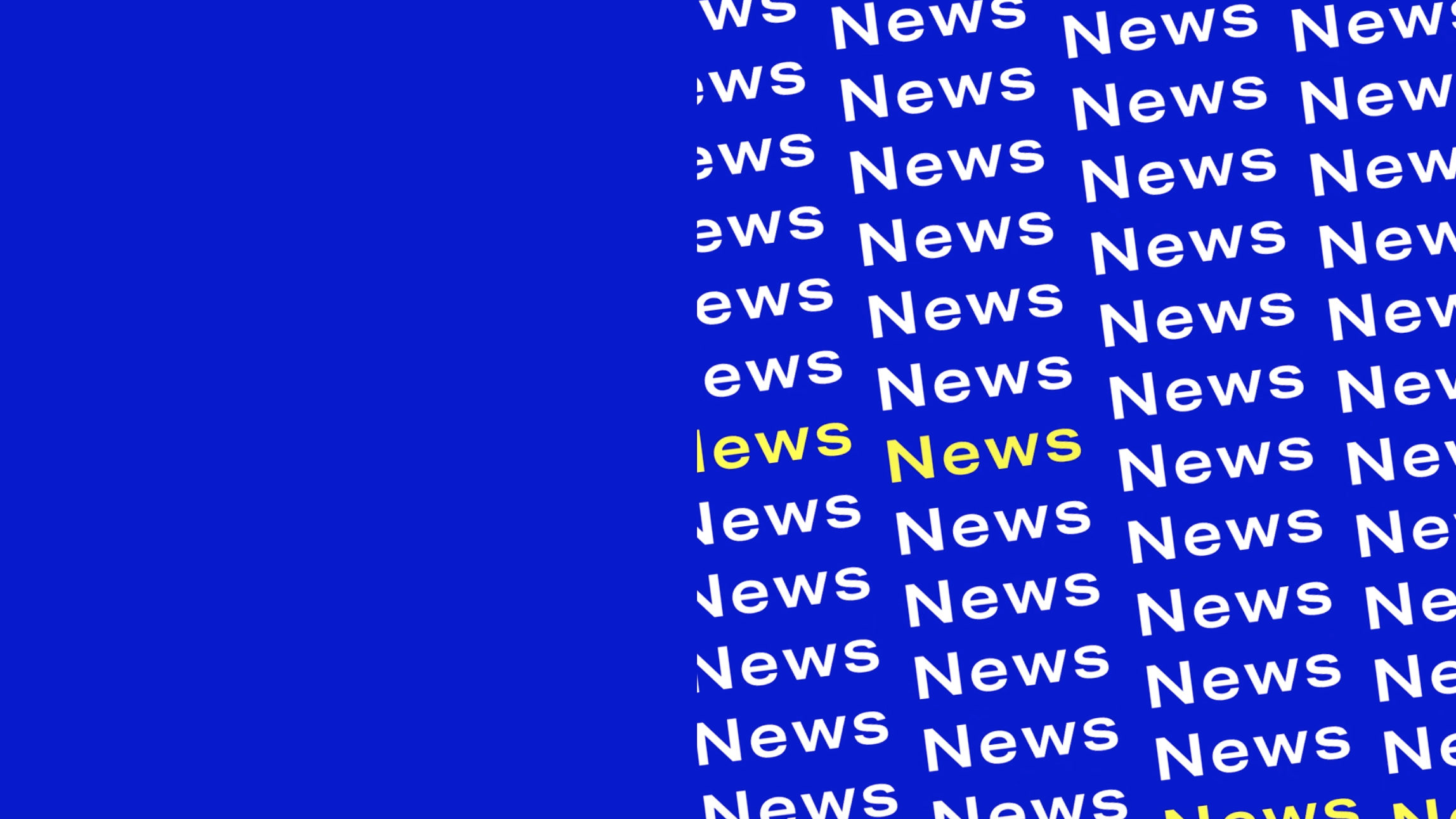 "Font in white and yellow ""News"" on blue background"