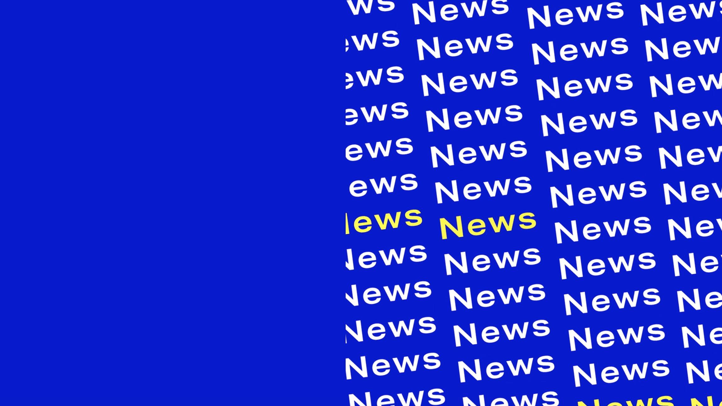 Wort News in weiß und gelb auf blauem Hintergrund